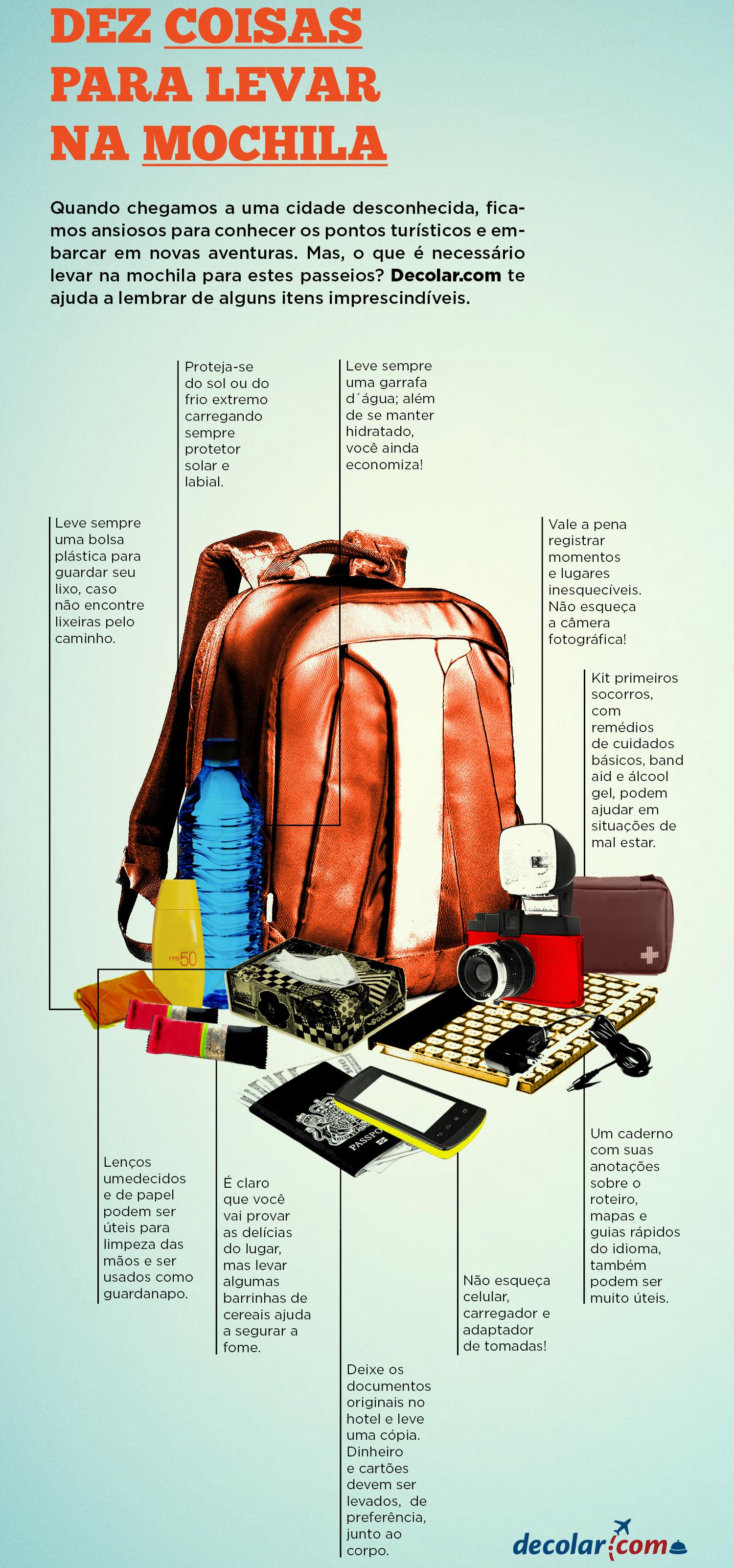 Imagem: Infográfico Decolar.com - 10 Coisas Que Não Podem Faltar na Mochila