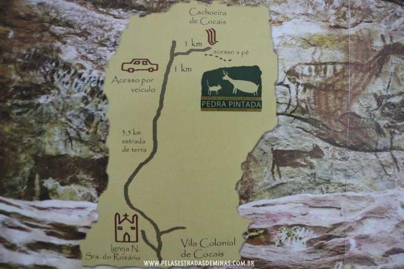 Mapa de acesso ao Sítio Pedra Pintada em Cocais-MG