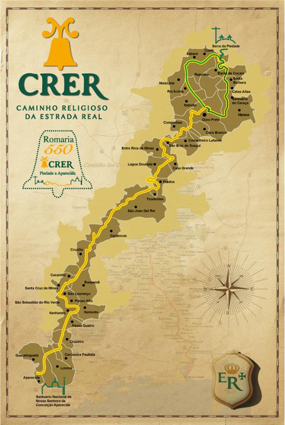 Mapa do Caminho Religioso da Estrada Real (CRER)