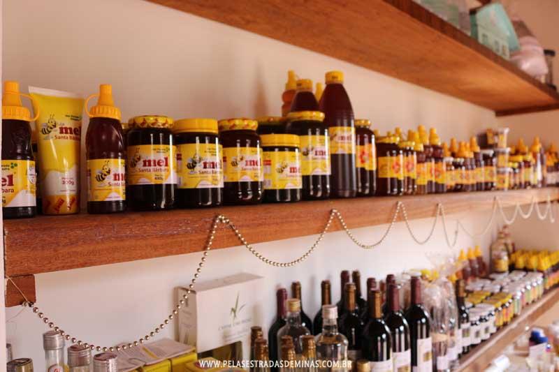 Produtos comercializados na Loja do Mel em Santa Bárbara - MG
